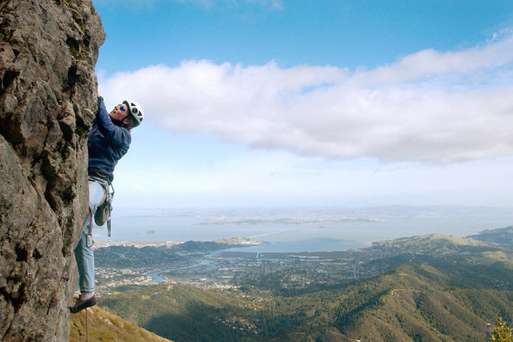 You can't beat the views of the Bay.  Marisa Fienup climbs at Mt. Tam.