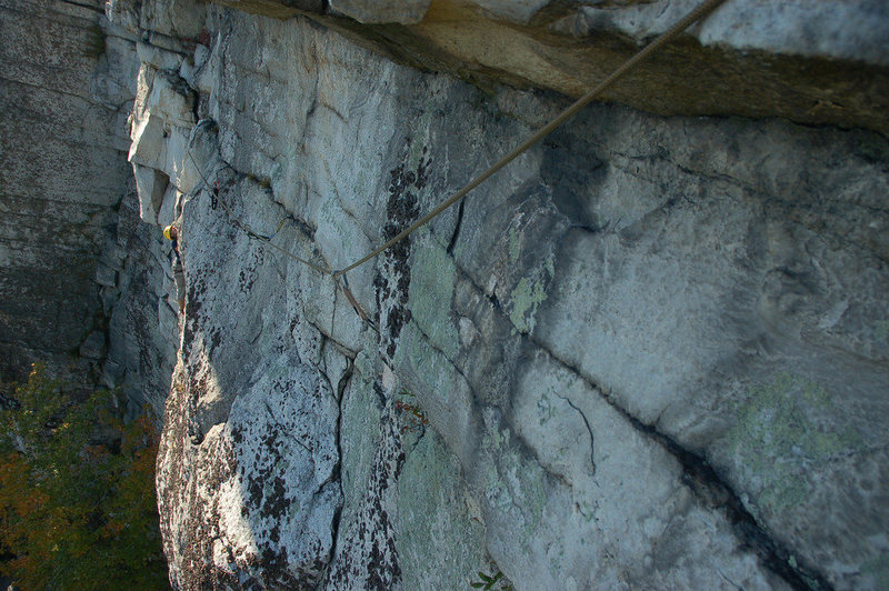 Rock Climbing Photo: Another view of the P1 traverse, from the hanging ...