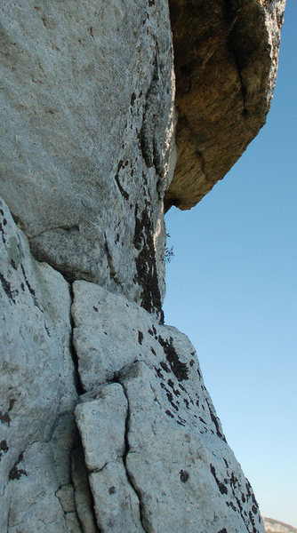 Looking up toward the crux from the belay.