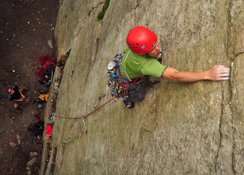 Josh Byford climbing past the shaky flake (covered by his left hand).