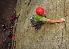 Rock Climbing Photo: Josh Byford climbing past the shaky flake (covered...