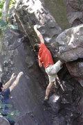 Rock Climbing Photo: Dobbe reaching up.