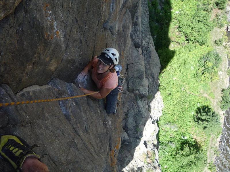 Rock Climbing Photo: CM finishing the third pitch.