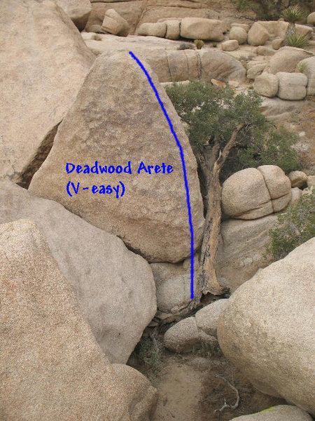 Deadwood Arete (V-easy), Joshua Tree NP<br>