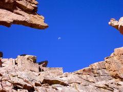 Rock Climbing Photo: Moonrise through the Keyhole.