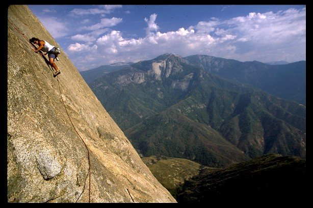 High up on the South Face route, a runout out face with easy climbing and maybe alittle pro..............