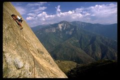 Rock Climbing Photo: High up on the South Face route, a runout out face...