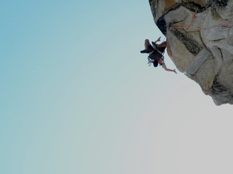 Dustin comes off the top crux. A split second after the photo the red link cam rips and Dusin goes for a 30+ foot fall