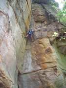 Rock Climbing Photo: Like most Meadow River routes, it is steep. But, t...