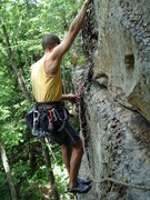 Rock Climbing Photo: Traversing left to anchors of adjacent sport route...