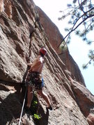 Rock Climbing Photo: Clint on the 1st pitch.  The 2nd pitch is visible ...