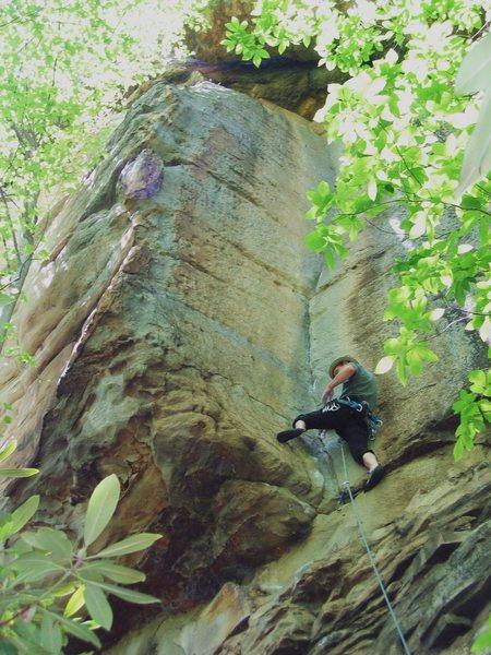 Jeff making clip before crux traverse.