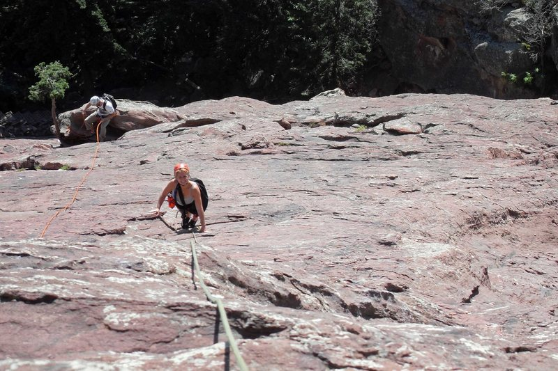 Rock Climbing Photo: Looking down pitch 2 at the 1st belay station with...