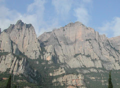 Rock Climbing Photo: Montserrat: north face. Routes ranging from 300 to...
