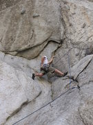 Rock Climbing Photo: Face moves to gain the crack