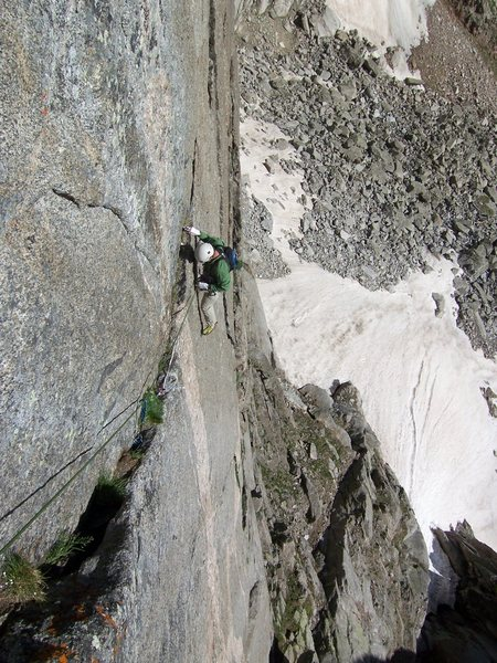 Rock Climbing Photo: Just above the crux on P1 of Good Evans...