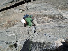 Rock Climbing Photo: The physical crux on P2 of Good Evans is a fist cr...