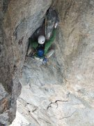 Rock Climbing Photo: P4 of Good Evans is steep and has great exposure.....