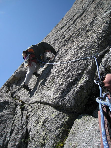 Rock Climbing Photo: Mikey leaving the first belay. I ended P1 at a poi...