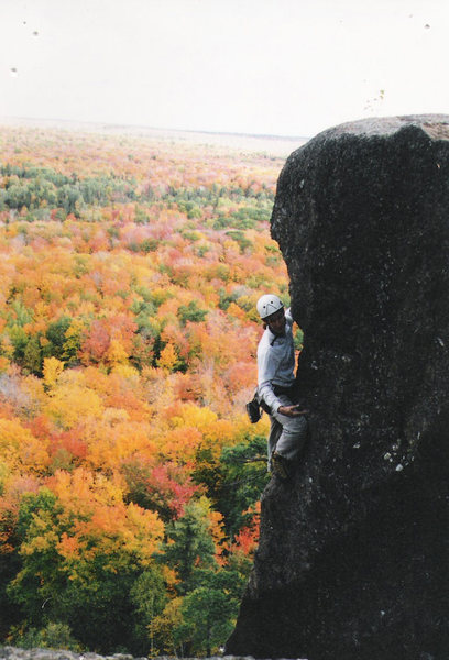 Looking at Rated P.G. from the side at the top of the cliff band. Circa Fall 1997.