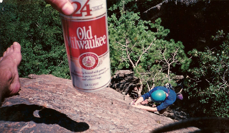 Some of the Old Milwaukee - Cliff Dr. Climbing Team. Tobacco Road - J.C. Area. T-Nuts on first lead w/ R.K. on belay. Circa Summer 1997.