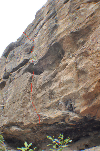 Climb ledges to the right of Rat's Nest. The crux is the start.