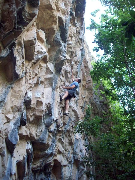 Rock Climbing Photo: Just past the dynamic crux of Quick Draws, groping...