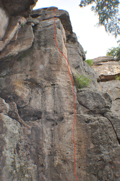 Climb the short, steep face to a ledge, then hop on the arete to the top