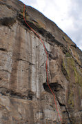 Rock Climbing Photo: Climb the right side of the arching crack.