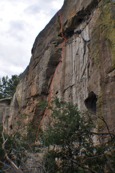 Climb the left side of the arching crack.