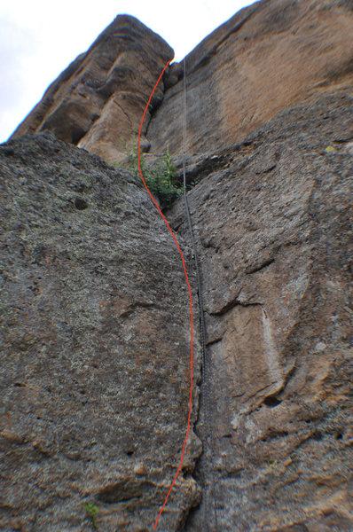 Climb the corner crack.