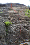 Rock Climbing Photo: Left of the cave. Follow the bolts.