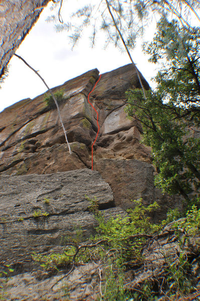Climb the crack and flake to the right of the giant, detached flake.