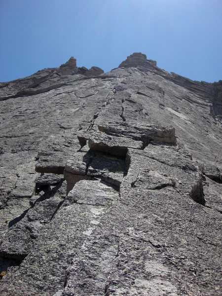Rock Climbing Photo: The view is straight up the line of ascent.  The o...