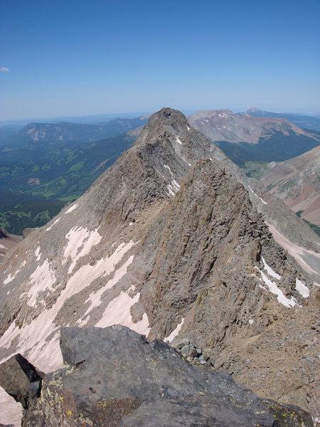 El Diente and Travers from Mount Wilson Summit
