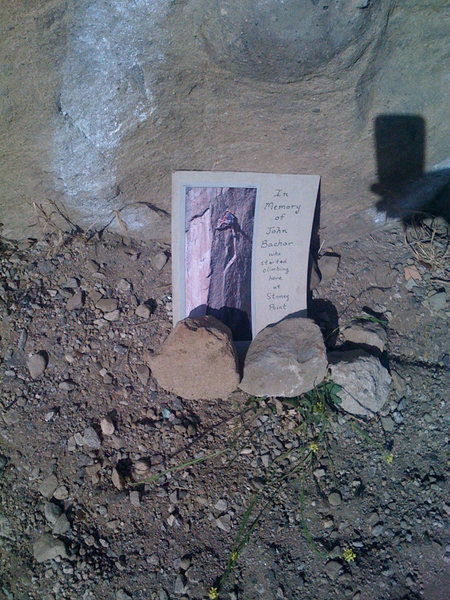 Anonymous Bachar memorial at Boulder 1.<br> <br> &quot;In Memory of John Bachar who started climbing here at Stoney Point&quot;.