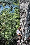 Rock Climbing Photo: Stew onsighting Debauchery 5.8 R  photo by: John K...
