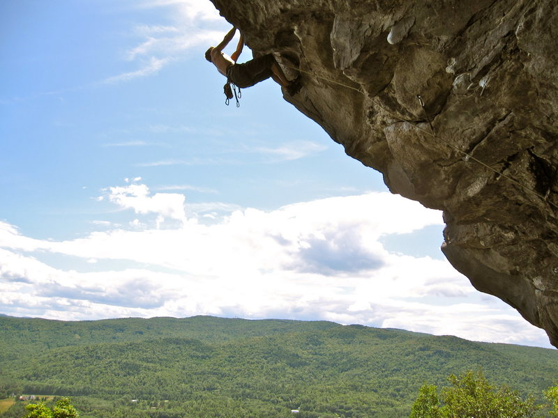 Rock Climbing Photo: me leading Giant Man in the Hinterlands at Rumney