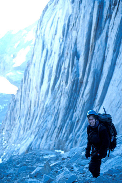 Diego Navarro stands just below the notch, during a mid-winter ascent of the Mountaineer's Route.