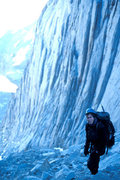 Rock Climbing Photo: Diego Navarro stands just below the notch, during ...