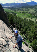 Rock Climbing Photo: Marisa Fienup nears the top of Pitch 2 of La Chaim...