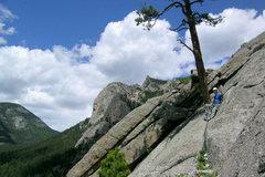 Rock Climbing Photo: Matthew Fienup belays atop pitch 2 of La Chaim, Lu...