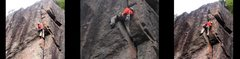 Rock Climbing Photo: The Esthesia crux being done as an akward offwidth...