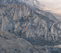 Rock Climbing Photo: Up in red, down and approach in blue.   Becky Rout...