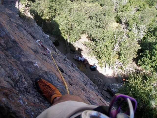 Looking down from rap anchors.