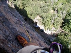 Rock Climbing Photo: Looking down from rap anchors.