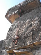 Rock Climbing Photo: My brother working his way over the first overhang...