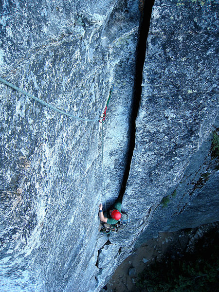 Rock Climbing Photo: Joe L. coming up the wide crack section.    If you...