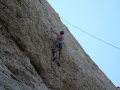 Rock Climbing Photo: Tod Anderson on the FA, Aaron's rope on a new rout...