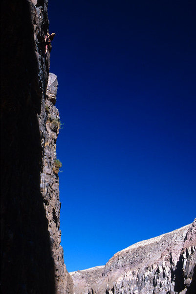Climber on the Warm Up Wall, in the Central Gorge (ORG)